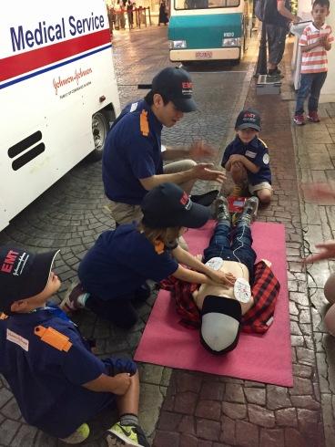 Addie performing CPR