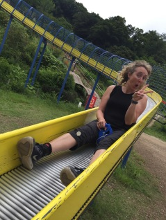 Krissy on a roller slide