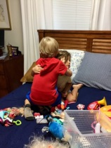 Hugging Ava goodbye